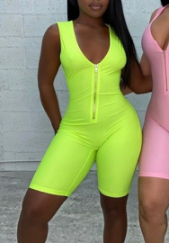 Women Fashion Solid Color Bodycon Romper Jumpsuit (Green)