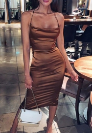 Women Fashion Stain Strap Back Midi Dress