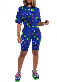 Women Fashion Print Butterfly Short Sleeve Round Neck Tops and Midi Pants 2 Piece Suit