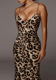 Women Fashion Print Leopard Strap Maxi Dress