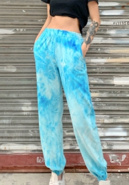 Women Fashion Tie-Dyed Fabric Colorful Summer Loose Long Pants