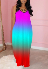 2020 Styles Women Fashion INS Styles Colorful Maxi Dress