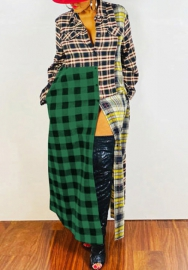 2020 Styles Women Fashion INS Styles Plaid Long Sleeve Maxi Dress
