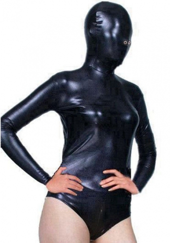 DFL-SX Unisex Artificial Leather Sexy Hooded Mask Blindfold T Crotch Bodysuit Lingerie Cosplay Head Harness Jumpsuits