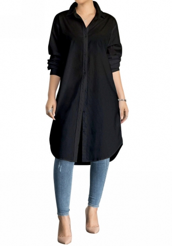 Women's Long Sleeve Hem Loose Casual Shirt Dress