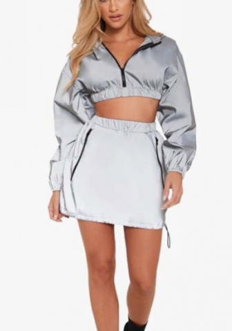 Women Fashion Reflective Long Sleeve Front Zipper Crop Tops and Short Skirt 2 Piece Suit