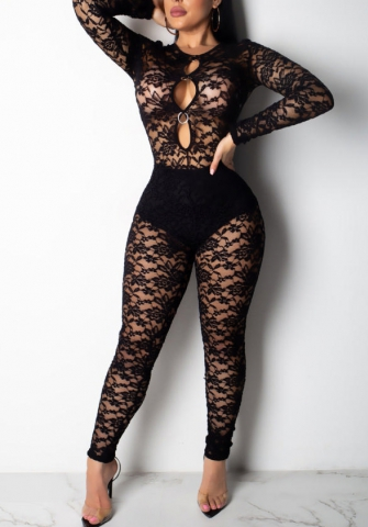 Womens Sexy Sheer Striped Lace Long Sleeve Jumpsuit