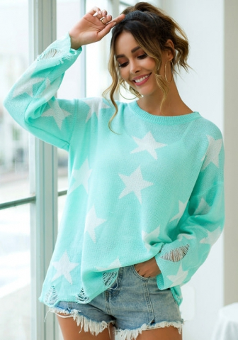 Women Fashion Star Sweater Long Sleeve  Casual  Tops