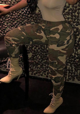 Women Fashion Print Camouflage Long Pants