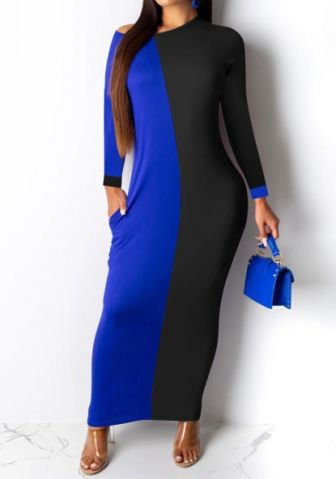 Women Fashion Contrast Color Long Sleeve Loose Maxi Dress