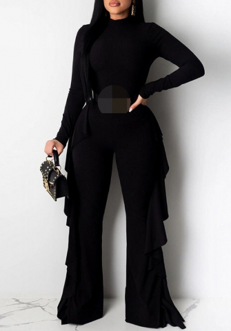 Women Fashion Long Sleeve Backless Double Side Ruffle Bodysuit Jumpsuit